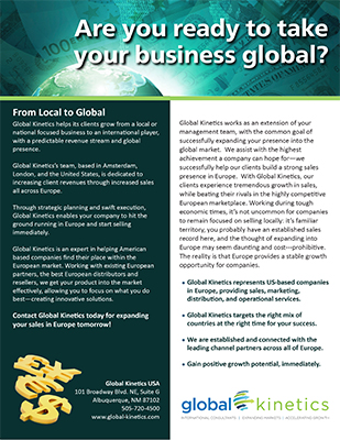 Taking business global intro sheet cover